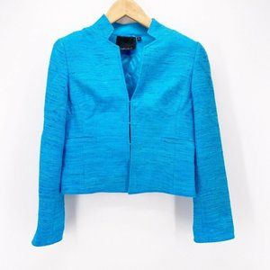 Carlisle Womens Suit Jacket Blazer Blue 100% Silk